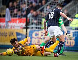 Morton's Ricki Lamie tackles Falkirk's Lee Miller. <br /> Falkirk 1 v 0 Morton, Scottish Championship game  played 1/5/2016 at The Falkirk Stadium.