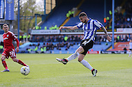 Sheffield Wednesday defender Daniel Pudil (36) shoots at goal during the Sky Bet Championship match between Sheffield Wednesday and Cardiff City at Hillsborough, Sheffield, England on 30 April 2016. Photo by Phil Duncan.