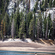 Horseshoe Lake located within Mammoth Lakes is fed by snow runoff and has seen its level fall off dramatically due to California drought.