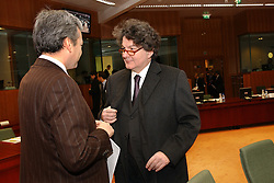 BRUSSELS, BELGIUM - MARCH-08-2005 - Thierry Breton, France's finance minister, right, speaks with Didier Reynders, Belgium's finance minister, during the ECOFIN conference, a meeting of  European Union finance and economic ministers, in Brussels.
