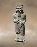 Hittite baslat sculptute of a male, late Hittite Period - 900-700 BC. Adana Archaeology Museum, Turkey. .<br /> <br /> If you prefer to buy from our ALAMY STOCK LIBRARY page at https://www.alamy.com/portfolio/paul-williams-funkystock/hittite-art-antiquities.html . Type - Adana - in LOWER SEARCH WITHIN GALLERY box. Refine search by adding background colour, place, museum etc.<br /> <br /> Visit our HITTITE PHOTO COLLECTIONS for more photos to download or buy as wall art prints https://funkystock.photoshelter.com/gallery-collection/The-Hittites-Art-Artefacts-Antiquities-Historic-Sites-Pictures-Images-of/C0000NUBSMhSc3Oo