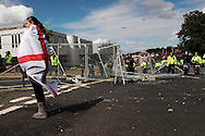 EDL supported alongside fencing damage caused by EDL who broke through to rampage through city centre Dudley, UK, 17/7/10