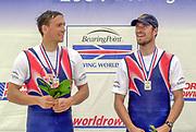 Poznan, POLAND.   2004 FISA World Cup, Malta Lake Course.  <br /> <br /> Men's pair medals <br /> Silver Medal SCG M2-  Nikola Stojic and Mladen Stegic<br /> <br /> 09.05.2004<br /> <br /> [Mandatory Credit:Peter SPURRIER/Intersport Images]