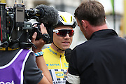 Edvald Boasson Hagen being interviewed after winning the Aviva Tour of Britain, Regent Street, London, United Kingdom on 13 September 2015. Photo by Ellie Hoad.