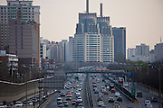 Congested traffic on Beijing motorway downtown, China
