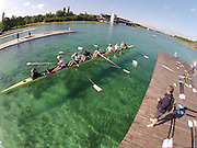 Munich, GERMANY,   GBR W8+  pushing away from the boating Dock. , FISA World Cup on the Munich Olympic Rowing Course,  Thursday   14/06/2012. [Mandatory Credit Peter Spurrier/ Intersport Images]