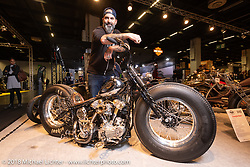 Stéphane Grand of T4 Motor-Cycles in Geneva, Switzerland with his custom 1947 Knuckle (with S&S bottom end) in the AMD World Championship of Custom Bike Building in the Intermot Customized hall during the Intermot International Motorcycle Fair. Cologne, Germany. Thursday October 4, 2018. Photography ©2018 Michael Lichter.