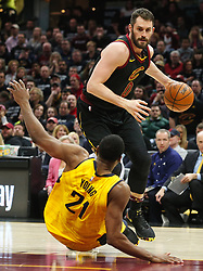April 29, 2018 - Cleveland, OH, USA - Cleveland Cavaliers center Kevin Love fouls Indiana Pacers forward Thaddeus Young in the third quarter of Game 7 of the Eastern Conference First Round series on Sunday, April 29, 2018 at Quicken Loans Arena in Cleveland, Ohio. The Cavs won the game, 105-101. (Credit Image: © Leah Klafczynski/TNS via ZUMA Wire)