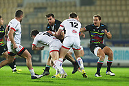 Enrico Lucchin (Zebre) is tackled by Bill Johnston and Stewart Moore (Ulster) during the Guinness Pro 14, rugby union match between Zebre Rugby and Ulster Rugby on November 16, 2020 at the Sergio Lanfranchi stadium in Parma, Italy - Photo Massimiliano Carnabuci / LM / ProSportsImages / DPPI
