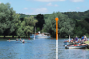 """Henley on Thames, United Kingdom, 22nd June 2018, Friday,   """"Henley Women's Regatta"""",  General view,  Competitors, Rowing-Sculling, Training, Umpire Launches, moored, Henley Reach, Thames Valley,  River Thames, England, © Peter SPURRIER"""