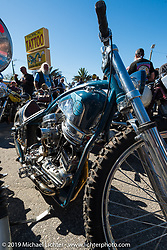 Bill Dodge's racey Panhead custom at the Willie's Tropical Tattoo annual Old School Bike Show during Daytona Bike Week. FL, USA. March 13, 2014.  Photography ©2014 Michael Lichter.