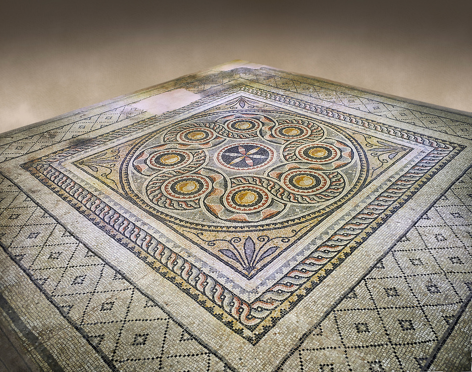 Roman mosaics - Geometric Mosaic. Dionysus Villa Ancient Zeugama, 2nd - 3rd century AD . Zeugma Mosaic Museum, Gaziantep, Turkey.   Against an art background. .<br /> <br /> If you prefer to buy from our ALAMY PHOTO LIBRARY  Collection visit : https://www.alamy.com/portfolio/paul-williams-funkystock/roman-mosaic.html - Type -   Zeugma   - into the LOWER SEARCH WITHIN GALLERY box. Refine search by adding background colour, place, museum etc<br /> <br /> Visit our ROMAN MOSAIC PHOTO COLLECTIONS for more photos to download  as wall art prints https://funkystock.photoshelter.com/gallery-collection/Roman-Mosaics-Art-Pictures-Images/C0000LcfNel7FpLI