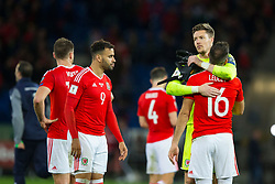CARDIFF, WALES - Monday, October 9, 2017: Wales' goalkeeper Wayne Hennessey consoles Joe Ledley after the final whistle in the 2018 FIFA World Cup Qualifying Group D match between Wales and Republic of Ireland at the Cardiff City Stadium. (Pic by Paul Greenwood/Propaganda)