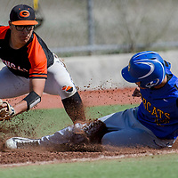 Gallup Bengal Isaiah Mike-Dubios (3) tags Bloomfield Bobcat Brendon Charley (12) out at third base Tuesday at Ford Canyon Park.