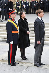 Princess Alexandra of Luxembourg, Prince Louis of Luxembourg and Prince Sébastien of Luxembourg at the funeral of Grand Duke Jean of Luxembourg at Cathedral Notre-Dame of Luxembourg in Luxembourg City, Luxembourg on May 4, 2019. Grand Duke Jean of Luxembourg has died at 98, April 23, 2019. Photo by David Niviere/ABACAPRESS.COM