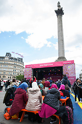 London, UK. 8 June, 2019. The Muslim festival of Eid-ul-fitr is celebrated in Trafalgar Square at a free annual event backed by the Mayor of London. Highlights include a food festival with a host of cuisines from across the world, plus live music and exclusive performances.