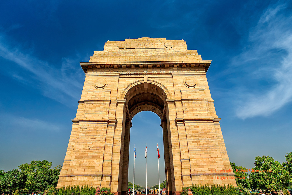 India Gate:  This low angle view of the imposing India Gate, a war memorial which is on the eastern edge of the ceremonial axis, New Delhi India.