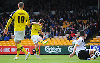 GOAL - Fleetwood Town's Josh Morris scores the opening goal <br /> <br /> Photographer Kevin Barnes/CameraSport<br /> <br /> Football - The Football League Sky Bet League One - Port Vale v Fleetwood Town - Sunday 3rd May 2015 - Vale Park - Stoke-on-Trent<br /> <br /> © CameraSport - 43 Linden Ave. Countesthorpe. Leicester. England. LE8 5PG - Tel: +44 (0) 116 277 4147 - admin@camerasport.com - www.camerasport.com