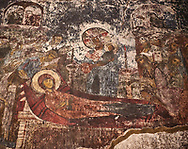 Picture & image of Vardzia medieval cave Church of the Dormition interior secco paintings of the Dormition of the Virgin, part of the cave city and monastery of Vardzia, Erusheti Mountain, southern Georgia (country)<br /> <br /> Inhabited from the 5th century BC, the first identifiable phase of building took place at  Vardzia in the reign of Giorgi III (1156-1184) to be continued by his successor, Queen Tamar 1186, when the Church of the Dormition was carved out of the rock and decorated with frescoes .<br /> <br /> Visit our MEDIEVAL PHOTO COLLECTIONS for more   photos  to download or buy as prints https://funkystock.photoshelter.com/gallery-collection/Medieval-Middle-Ages-Historic-Places-Arcaeological-Sites-Pictures-Images-of/C0000B5ZA54_WD0s<br /> <br /> Visit our REPUBLIC of GEORGIA HISTORIC PLACES PHOTO COLLECTIONS for more photos to browse, download or buy as wall art prints https://funkystock.photoshelter.com/gallery-collection/Pictures-Images-of-Georgia-Country-Historic-Landmark-Places-Museum-Antiquities/C0000c1oD9eVkh9c