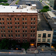 Historic building renovation along 9th Street in Kansas City, Missouri's downtown area.