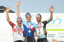 Second placed Jan Polanc of UAE Team Emirates, winner Matej Mohoric of Bahrain Victorious and third placed Luka Mezgec of Team Bikeexchange during Slovenian National Road Cycling Championships 2021, on June 20, 2021 in Koper / Capodistria, Slovenia. Photo by Vid Ponikvar / Sportida