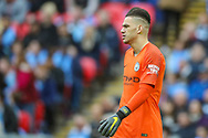 Manchester City goalkeeper Ederson (31) during the The FA Cup semi-final match between Manchester City and Brighton and Hove Albion at Wembley Stadium, London, England on 6 April 2019.