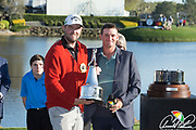 Marc Leishman (AUS) winner of the The Arnold Palmer Invitational Championship 2017, with Sam Saunders. At  Bay Hill, Orlando,  Florida, USA. 19/03/2017.<br /> Picture: PLPA/ Mark Davison<br /> <br /> <br /> All photo usage must carry mandatory copyright credit (© PLPA | Mark Davison)