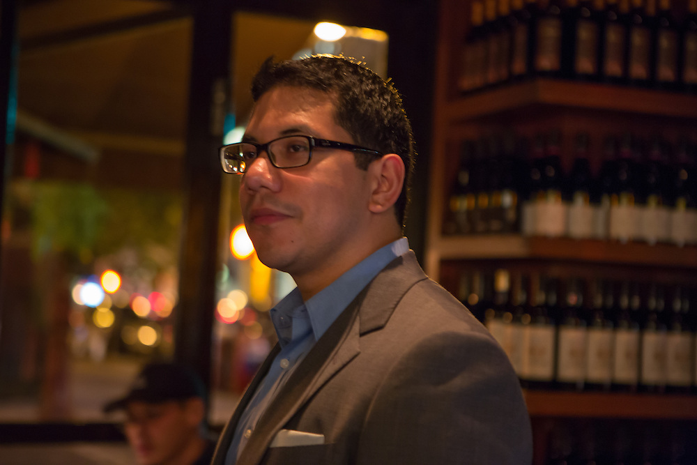 New York, NY, Sept. 28, 2013. Hector Perez, wine director of Casa Mono, at work during dinner. Perez looking over the dining room.
