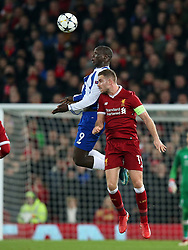 March 6, 2018 - Liverpool, U.S. - 6th March 2018, Anfield, Liverpool, England; UEFA Champions League football, round of 16, 2nd leg, Liverpool versus FC Porto; Vincent Aboubakar of Porto wins the ball in the air as Jordan Henderson of Liverpool challenges (Photo by Dave Blunsden/Actionplus/Icon Sportswire) ****NO AGENTS---NORTH AND SOUTH AMERICA SALES ONLY****NO AGENTS---NORTH AND SOUTH AMERICA SALES ONLY* (Credit Image: © Dave Blunsden/Icon SMI via ZUMA Press)