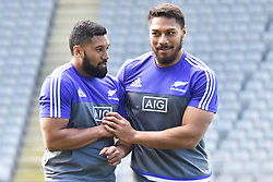October 21, 2016 - Auckland, New Zealand - George Moala and Elliot Dixon of New Zealand All Blacks share a light moment during the  captain's run at Eden Park on October 21, 2016 in Auckland, New Zealand, ahead of the Third Bledisloe Cup test match against Australia Wallabies on Oct 22. (Credit Image: © Shirley Kwok/Pacific Press via ZUMA Wire)