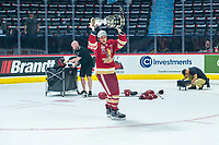 REGINA, SK - MAY 27:  Acadie-Bathurst Titan hoists the memorial cup trophy after the win against the Regina Pats at Brandt Centre - Evraz Place on May 27, 2018 in Regina, Canada. (Photo by Marissa Baecker/CHL Images)
