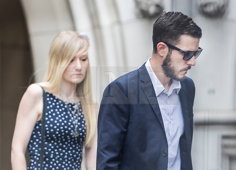 © Licensed to London News Pictures. 10/07/2017. Connie Yates and Chris Gard arrive at The High Court. The parents of terminally ill Charlie Gard are returning to court in light of claims of new evidence relating to potential treatment for his condition. An earlier lengthy legal battle ruled that Charlie could not be taken to the US for experimental treatment. London, UK. Photo credit: Peter Macdiarmid/LNP
