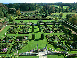 Hatfield House. View of the East garden parterre and maze from the roof.