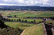 View of historic earthworks 1627–29 known as The King's Knot from Stirling Castle, Scotland, UK in 1980