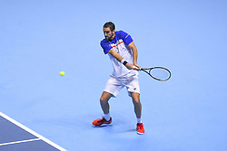 November 14, 2017 - London, England, United Kingdom - Marin Cilic of Croatia in action in his Singles match against Jack Sock of the USA on day three of the Nitto ATP World Tour Finals at O2 Arena, London on November 14, 2017. (Credit Image: © Alberto Pezzali/NurPhoto via ZUMA Press)