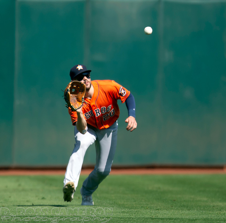 Sep 26, 2021; Oakland, California, USA; Houston Astros left fielder Chas McCormick (20) makes a running catch of a sinker liner by Oakland Athletics right fielder Seth Brown in the third inning at RingCentral Coliseum. Mandatory Credit: D. Ross Cameron-USA TODAY Sports