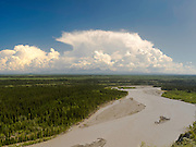 View of the Copper River (foreground) and the Wrangell Mountains, just south of Glenallen, Alaska, along the Richardson Highway.
