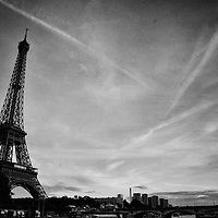 B&W Eiffel Tower From The Seine River