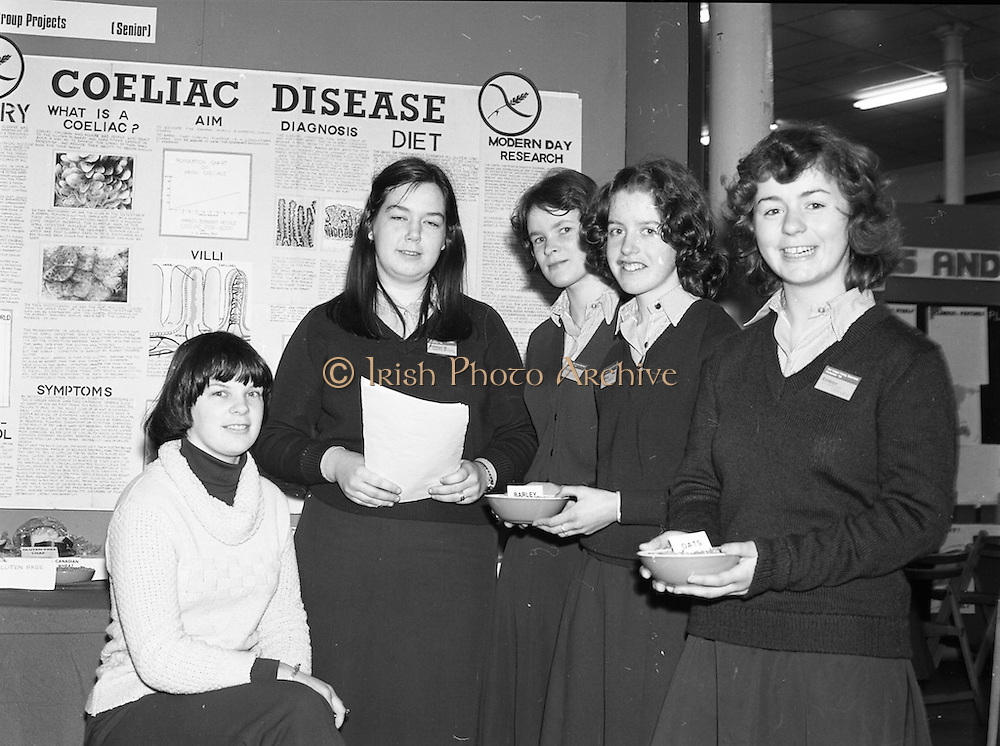 06/01/1978.01/06/1978.6th January 1978.The Aer Lingus Young Scientist of the Year Exhibition at the RDS, Dublin. ..L-R Mrs Collette O'Neill, (Biology teacher) Addie McCarthy, Janet Martin, Susan Reardon and Suzanne Crosby all from Scoil Mhuire, Wellington rd, Cork at their exhibit on Coeliac Disease.  ..
