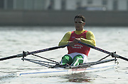 Peter Spurrier Sports  Photo.email pictures@rowingpics.com.Tel 44 (0) 7973 819 551..Photo Peter Spurrier.29/03/2002.2002 Thames World Sculling Challenge.Akos Haller HUN Rowing Course: River Thames, Championship course, Putney to Mortlake 4.25 Miles [Mandatory Credit Peter Spurrier; Intersport Images]