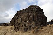 "A freestanding mound of basalt columns, at Dverghamrar (""Dwarf Rocks"") in southern Iceland."
