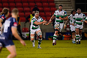 Newcastle Falcons No.8 Callum Chick passes the ball during a Gallagher Premiership Round 12 Rugby Union match, Friday, Mar 05, 2021, in Eccles, United Kingdom. (Steve Flynn/Image of Sport)