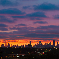 Chicago, Illinois at dawn, as seen from Oak Brook.