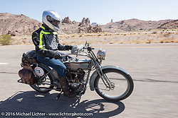 Steve Decosa of New York riding his 1915 Harley-Davidson during the Motorcycle Cannonball Race of the Century. Stage-13 ride from Williams, AZ to Lake Havasu CIty, AZ. USA. Friday September 23, 2016. Photography ©2016 Michael Lichter.