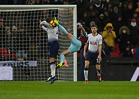 Football - 2018 / 2019 Premier League - Tottenham Hotspur vs. Burnley<br /> <br /> Robbie Brady (Burnley FC) tries the spectacular as Toby Alderweireld (Tottenham FC) puts his head in the way at Wembley Stadium.<br /> <br /> COLORSPORT/DANIEL BEARHAM
