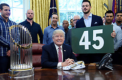 U.S President Donald Trump meets with the Chicago Cubs in the Oval Office of the White House in Washington, DC, on June 28, 2017. Photo by Olivier Douliery/ Abaca