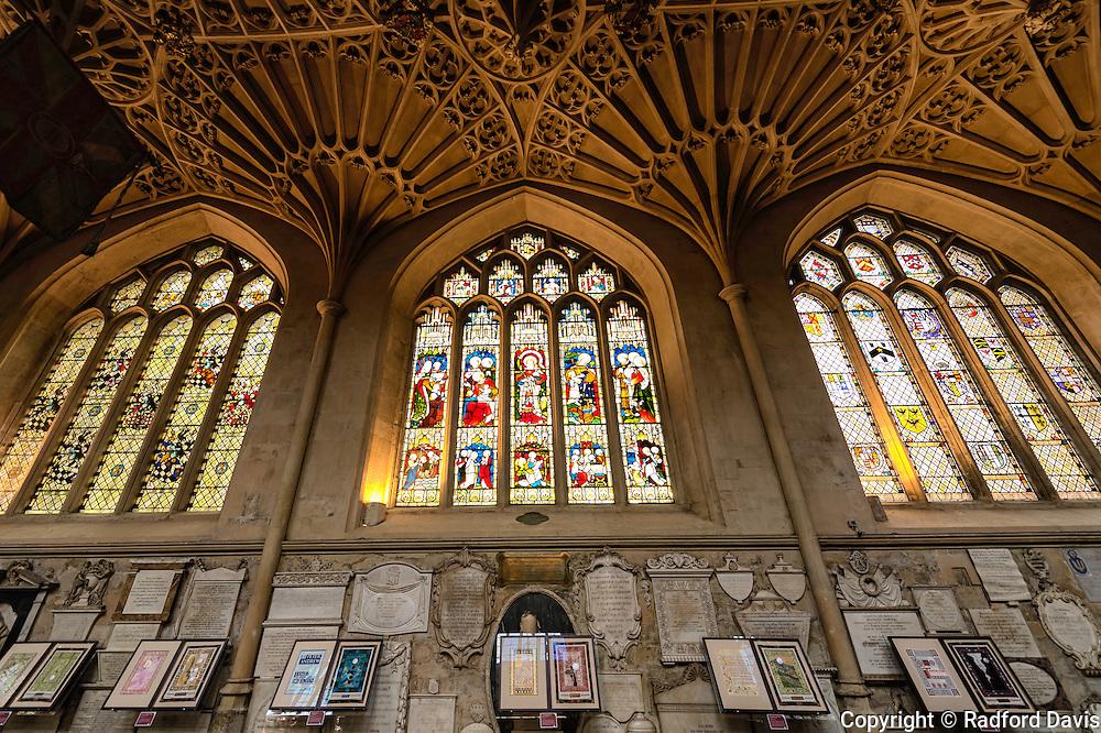 Bath Abbey, stained glass windows, UK