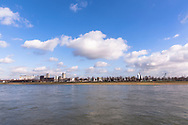 Germany, Cologne, view across the river Rhine to the harbor in the district Deutz.<br /> <br /> Deutschland, Koeln, Blick ueber den Rhein zum Deutzer Hafen.