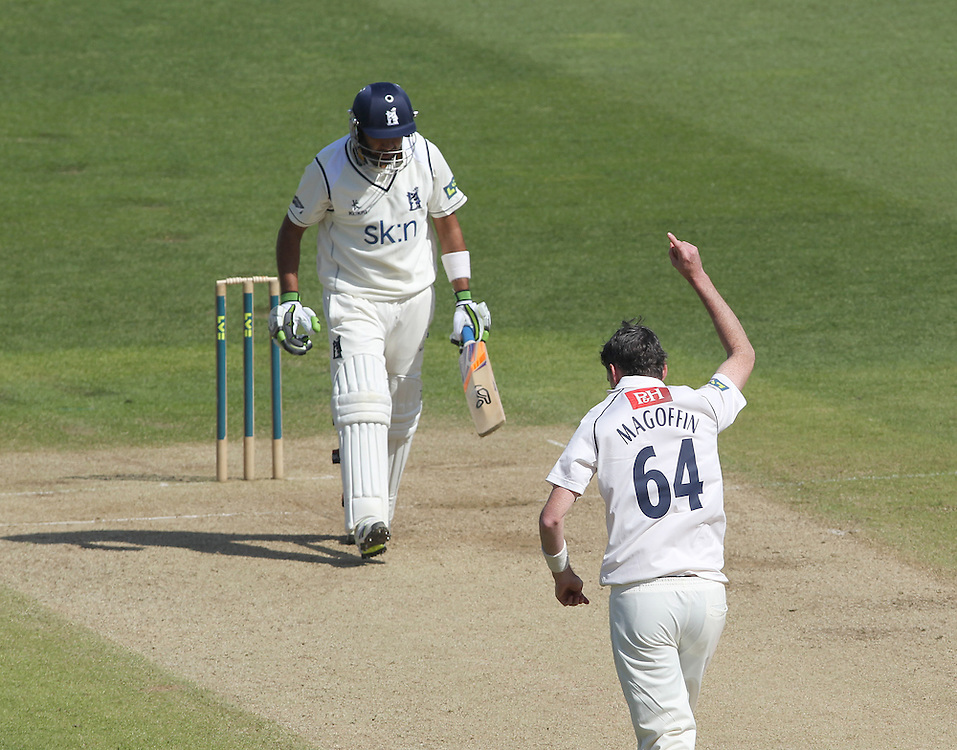 Sussex's Steve Magoffin celebrates taking the wicket of Warwickshire's Jeetan Patel <br /><br />Photographer Mick Walker/CameraSport<br /><br />County Cricket - Liverpool Victoria County Championship - Division One - Warwickshire  v  Sussex - Day 3 - Tuesday 15th April 2014 - Edgbaston - Birmingham<br /><br />© CameraSport - 43 Linden Ave. Countesthorpe. Leicester. England. LE8 5PG - Tel: +44 (0) 116 277 4147 - admin@camerasport.com - www.camerasport.com