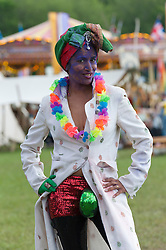 © Licensed to London News Pictures. 30/05/2016. Hay-on-Wye, Powys, Wales, UK. Soma Ghosh, as The Maharajah of Kangra,  poses for photographers on the fifth day of 'HowTheLightGetsIn' Festival of Ideas - The philosophy and music festival at Hay-on-Wye, Wales, UK. HowTheLightGetsIn festival was founded by post-realist philosopher and director of the Institute of Art and Ideas, Hilary Lawson. Photo credit: Graham M. Lawrence/LNP